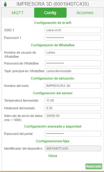 Opciones básicas dentro de Whatsbee